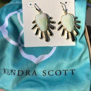 Iridescent Kendra Scott gold tone dangle earrings